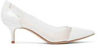 Gianvito Rossi Plexi Soft 55 Point-toe Leather Pumps - White