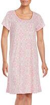 Miss Elaine Cap-Sleeve Floral-Print Sleep Shirt