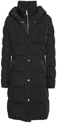 DKNY Faux Leather-trimmed Quilted Shell Hooded Coat