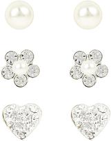 Accessorize Sterling Silver 3x Pearl Flower Stud Earrings Set