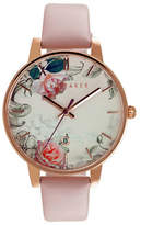 Ted Baker London Analog Floral Rose-Goldtone Leather Strap Watch