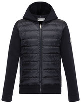 Moncler Maglia Knit Hooded Zip Cardigan w/Down Front & Flag-Detailed Sleeves, Navy, Size 8-14