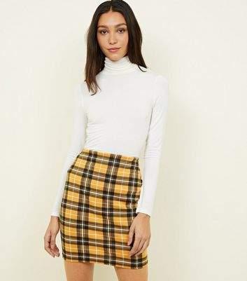 New Look Tall Mustard Check Tube Skirt