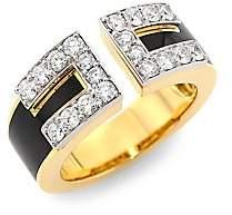 David Webb Women's Motif 18K Yellow Gold, Black Enamel & Diamond Gap Ring