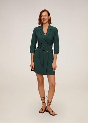 MANGO Buttoned wrap dress green - 2 - Women