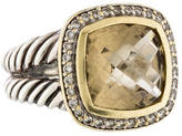 David Yurman Two Tone Champagne Citrine and Diamond Albion Ring