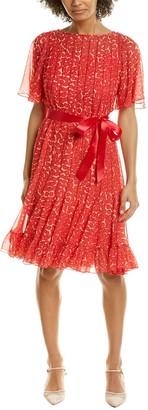 Teri Jon Flutter Sleeve Pintuck A-Line Dress