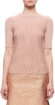 Carven Wave-Effect Half-Sleeve Knitted Sweater