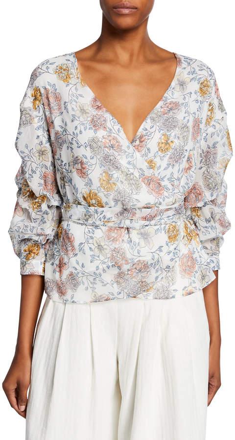 J.o.a. Floral-Print Wrap Top