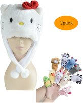 Pulama Winter Short Animal Beanie Hats 10 Finger Puppets Chrsitmas Gift for Kid
