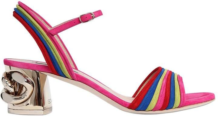 Casadei 50mm Chained Heel Rainbow Suede Sandals