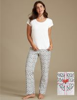 Marks and Spencer Pure Cotton Wreath Print Short Sleeve Pyjamas