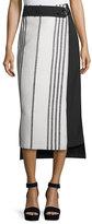 Zero Maria Cornejo Striped High-Low Wrap Skirt, Black/White