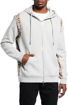 Burberry Men's Full-Zip Hoodie w/ Check Sides