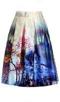 MF@ Women's Pleated Vintage Skirts Floral Print Sakura Skater Pleated A-line Skirt (xl, )