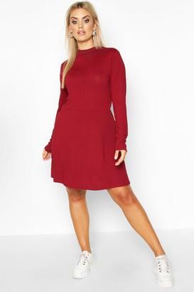 boohoo Plus Jumbo Rib Long Sleeve Smock Dress