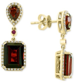 Effy Rhodolite Garnet (8 ct. t.w.), Ruby (5/8 ct. t.w.) & Diamond (1/4 ct. t.w.) Drop Earrings in 14k Gold