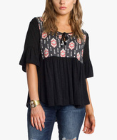 Anama Black & Pink Geometric Tie-Neck Empire-Waist Top