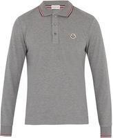 Moncler Striped-trim cotton-piqué polo shirt