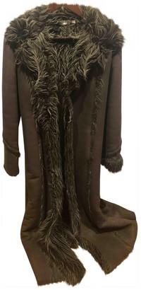 Pinko Khaki Fur Coat for Women