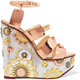 Charlotte Olympia Mechanical Merylin mirrored-leather wedge sandals