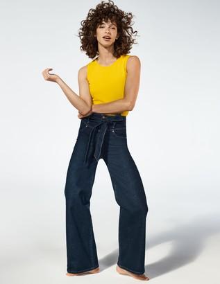 Tie Detail Wide Leg Jeans