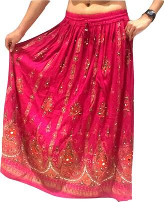 Dancers World Ltd (Uk Seller) Pink Ladies Indian Boho Hippie Gypsy Sequin Summer Sundress Maxi Skirt UK 8-14