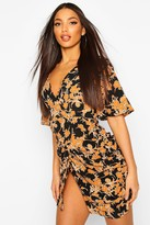 boohoo Woven Floral Wrap Rouche Shift Dress
