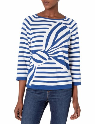 Joan Vass Women's Intarsia Stripe Bow Sweater