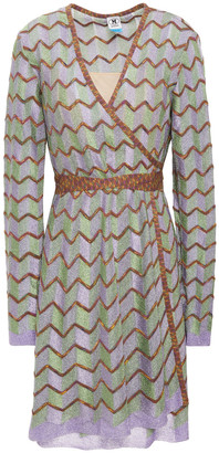 M Missoni Metallic Crochet-knit Mini Wrap Dress