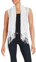 Kensie Fringed Hi-Lo Burnout Vest