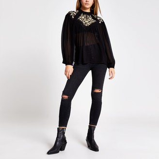 River Island Womens Black embroidered long sleeve sheer blouse