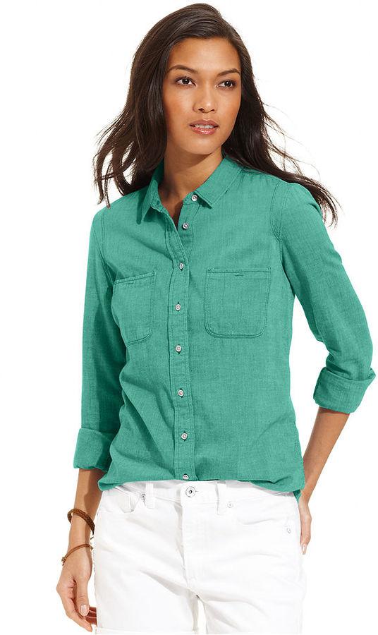 Calvin Klein Jeans Petite Shirt, Long-Sleeve Button-Down Chambray