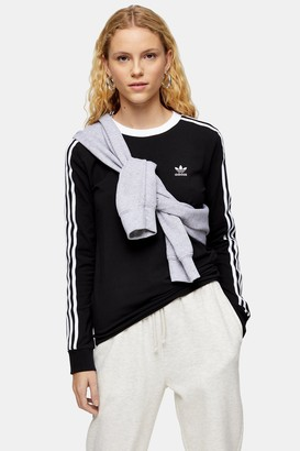 adidas Womens Black 3 Stripe T-Shirt By Black