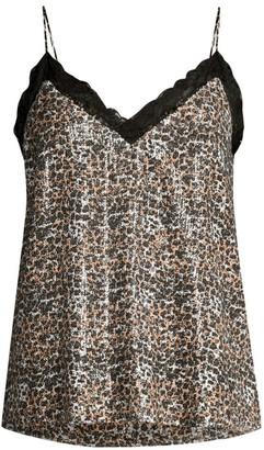 Olivia Rubin Flora Leopard Print Sequin Camisole