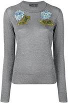Dolce & Gabbana hydrangea appliqué jumper - women - Polyester/Viscose - 40