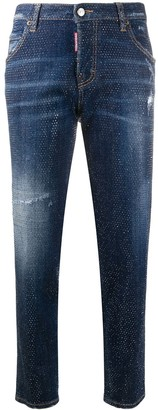 DSQUARED2 Studded Cropped Skinny-Fit Jeans