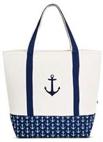 DEI Women's Canvas Embroidered Anchor Tote Handbag - Blue