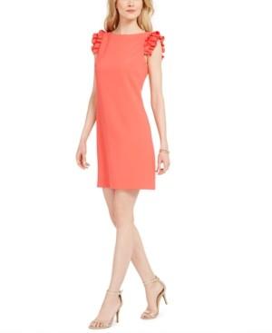 Vince Camuto Petite Ruffle-Sleeve Shift Dress