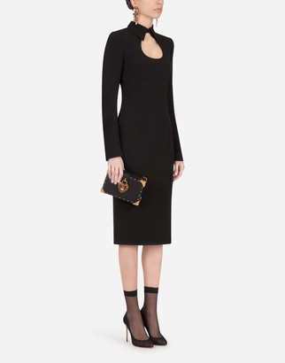 Dolce & Gabbana Cady Calf-Length Dress With Collar