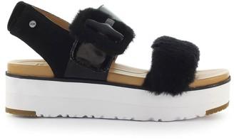 UGG Fluff Chella Black Platform Sandal