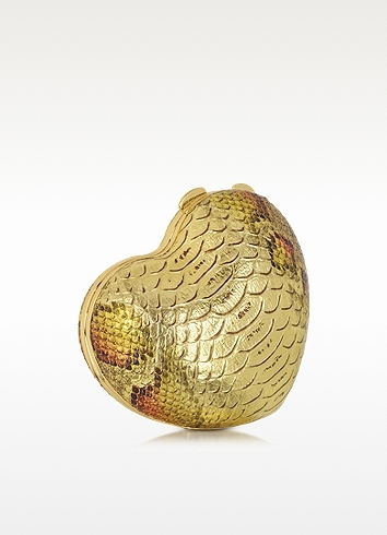Moschino Golden Embossed Eco Leather Heart Clutch