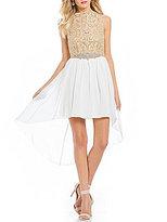 Jodi Kristopher Metallic Embroidered Bodice High-Low Dress