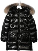 Moncler long patent puffer coat