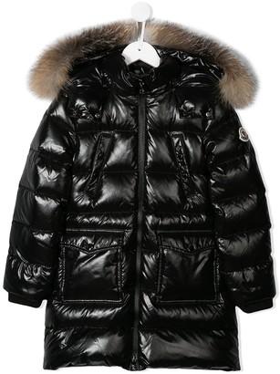 Moncler Enfant Long Patent Puffer Coat