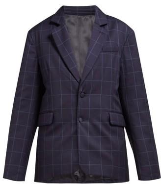 Martine Rose Big Check Padded Wool Blazer - Navy