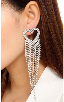 Amrita Singh Women's Earrings Silver/Clear - Silvertone Heart Multi-Strand Drop Earrings