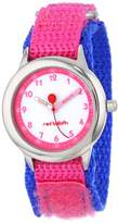 """Red Balloon Kids' W000194 """"Time Teacher"""" Stainless Steel Watch with Pink and Blue Nylon Band"""