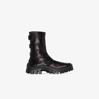 MANU Atelier black Moon Boot leather boots