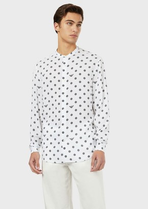 Emporio Armani Shirt With Guru Collar In An All-Over Print